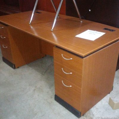 """Used 36"""" X 72"""" double pedestals bow front desk"""