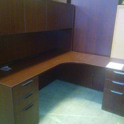 Used 5.5' x 6' corner desk with hutch mahogany laminate