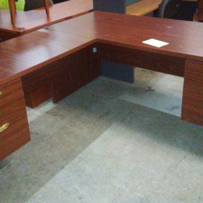 "Used Mahogany 66"" x 75"" L-shape desk"