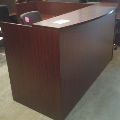 """6' x 6'6"""" Reception Desk with bow front transaction counter mahogany"""