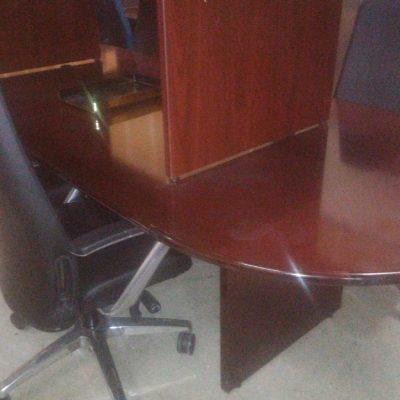 Used 10' oval racetrack conference table mahogany wood veneer