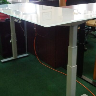 CD 6' adjustable height glass table desk