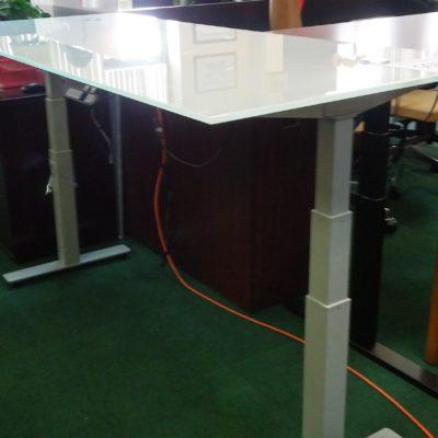 Adjustable Height Glass Desk