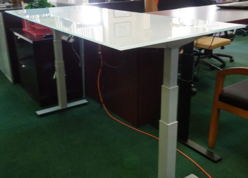 Adjustable Height Glass Desk