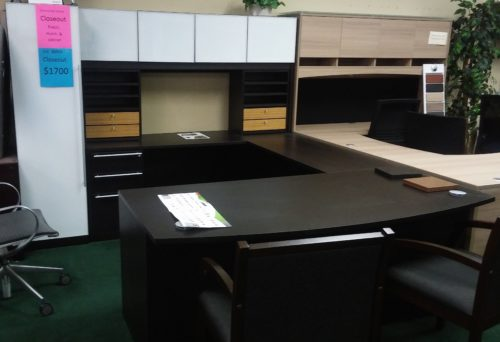 Cherryman Verde executive U with hutch and tower cabinet