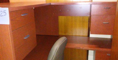 "Used 60"" x 72"" L-shape desk cherry laminate"