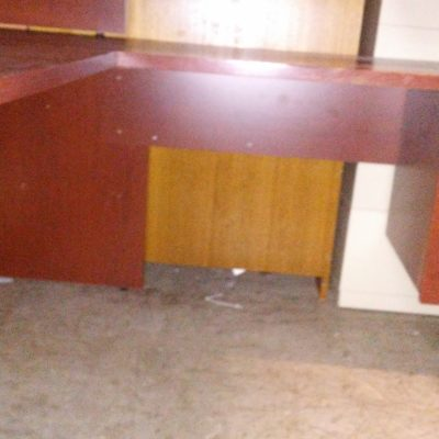 """Used 66"""" x 76"""" L-shape desk with right return cherry laminate"""