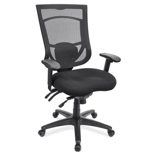 Multi-Function, High Back Chair with Black Base and Adjustable Arms