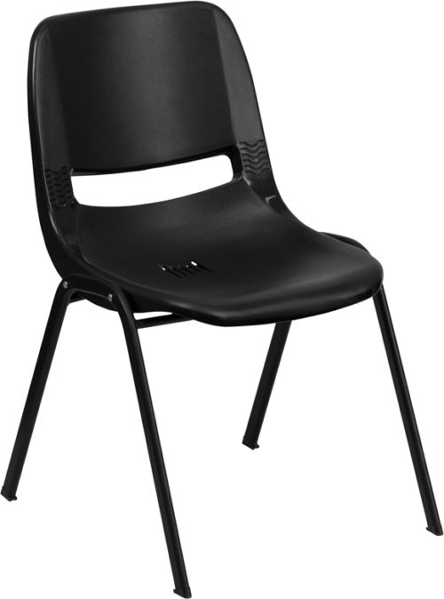 Black plastic shell chair with 880 lb. Capacity