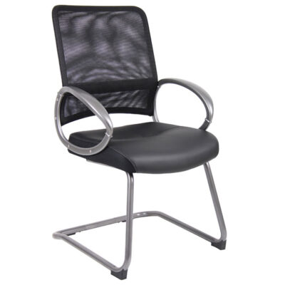 Mesh Back Loop Arm Guest Chair Black W/ Pewter Finish