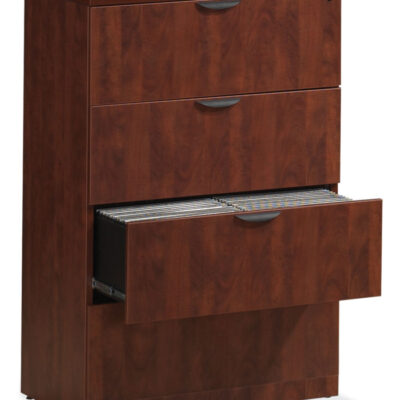 NPL 4-drawer laminate lateral file cherry