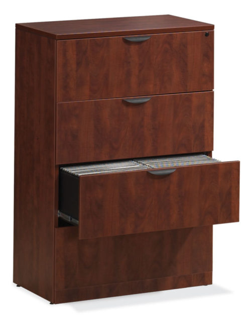 "36"" 4-drawer lateral file cabinet cherry laminate"