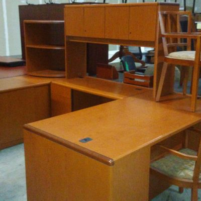Used HON 10700 desk w/ left return, storage credenza, hutch, and corner bookcase cherry laminate