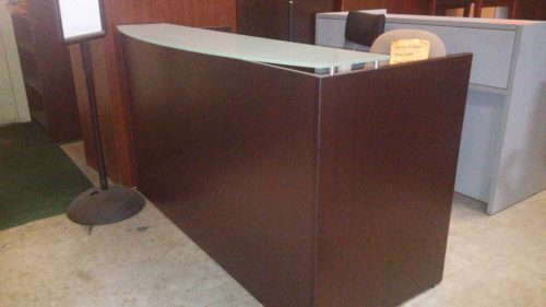 6' Reception desk with glass transaction counter