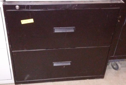 "Used locking 2-drawer 30"" black lateral file"