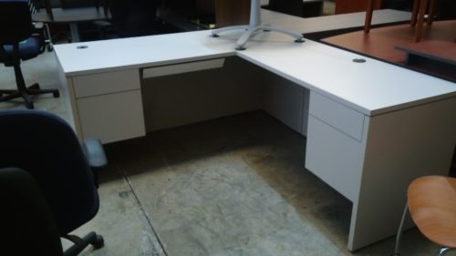 """Used HON 66"""" x 78"""" L-shape desk with right return Gray"""