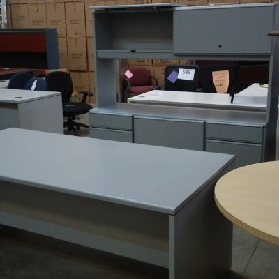 Used National desk & credenza w/ hutch Gray laminate