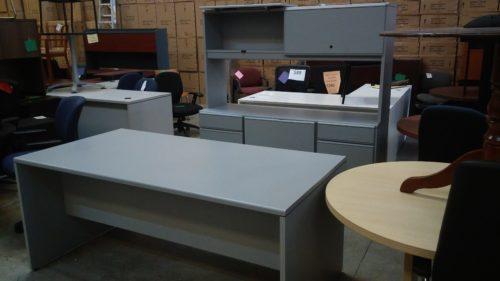 Used National desk & credenza w/ hutch Gray laminate