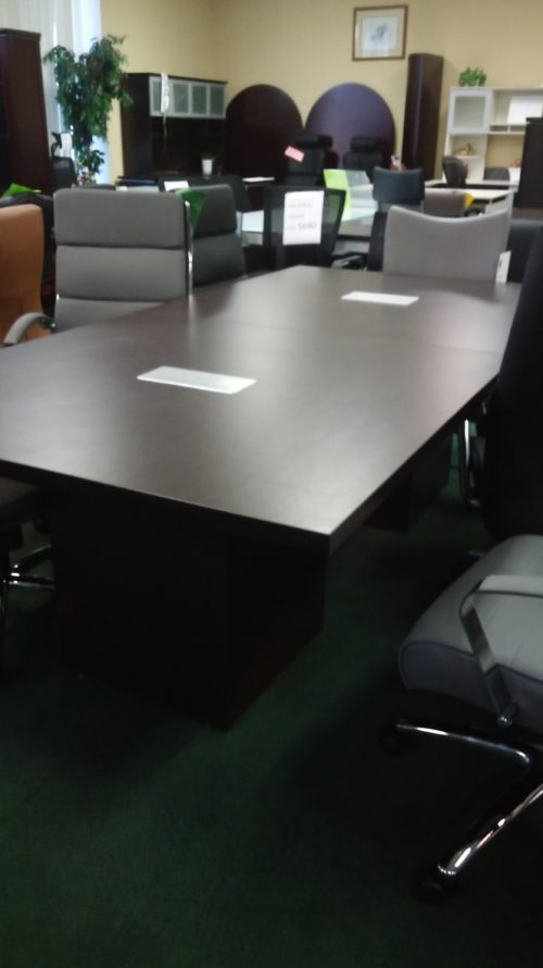 8' rectangular conference tables with cube bases espresso