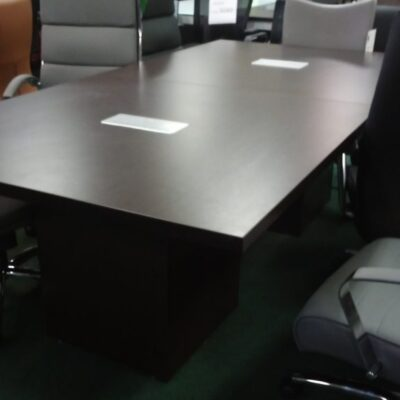 NPL 8' rectangular conference table with cube base espresso