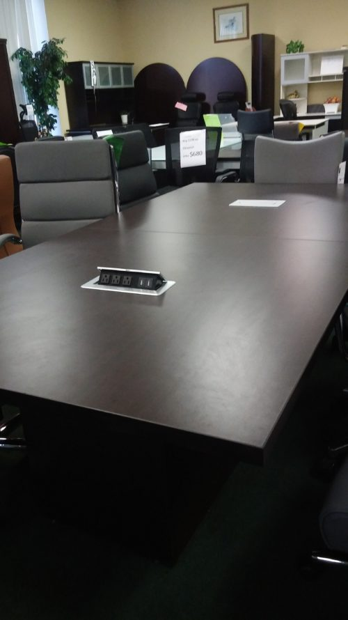 8' rectangular conference tables with pwer & cube bases