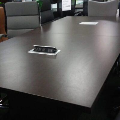 NPL 8' rectangular table with power grommet & cube base espresso
