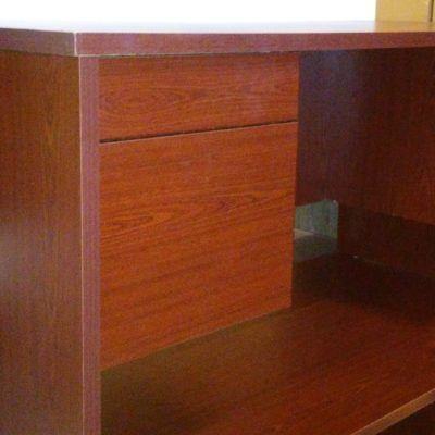Used mahogany laminate 5' double pedestal desk