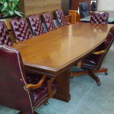 Used OFS Classic series 10' conference table and 10 traditional chairs