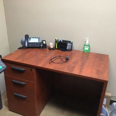 "24"" x 42"" sales desk cherry laminate"