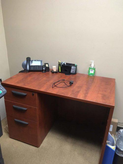 "24"" x 42"" sales desk cherry laminate"