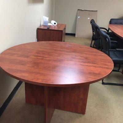 """48"""" Round table w/ X-base Cherry laminate"""