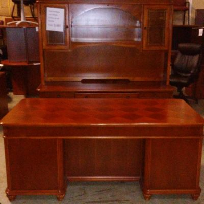 Used DMI Antigua desk & credenza with hutch cherry wood veneer