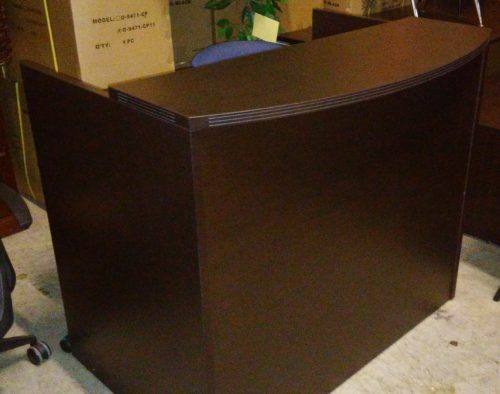4' Reception Desk with bow front transaction counter