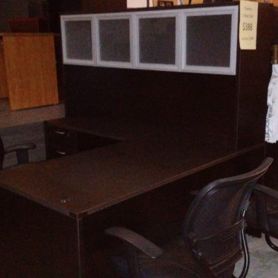 "5'6"" x 6' L-shape desk 6' hutch with aluminum & glass doors espresso laminate"