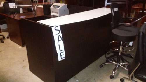 "6'x 6'-6"" L-Reception desk with floated glass transaction counter espresso"
