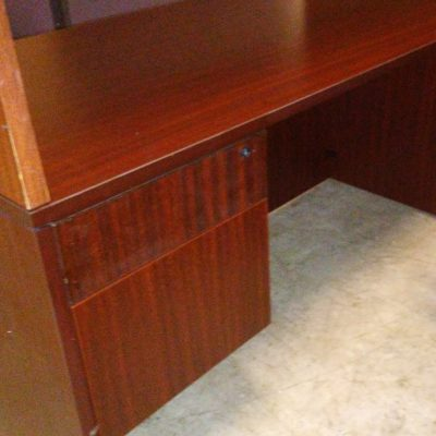 Used 5' desk with box/file pedestal on left mahogany