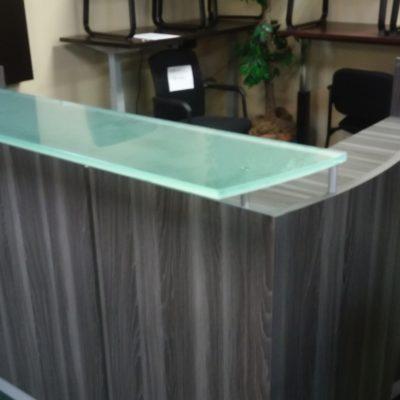Used Mayline Medina reception desk and return with glass transaction