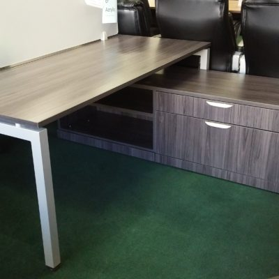 6' benching workstation with acrylic divider with bookcase and 2-drawer storage return Gray