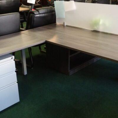 NPL benching table with return & box-box-file gray