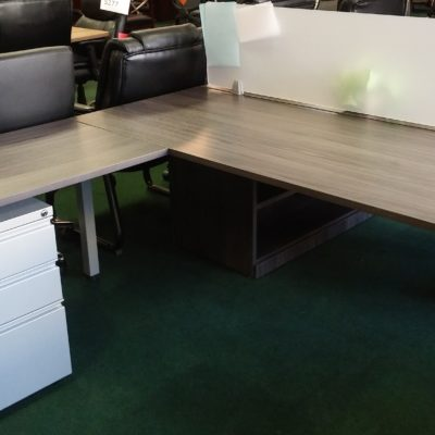 6' L-shape benching table with box-box-file gray
