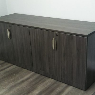 locking 4-door storage credenza gray