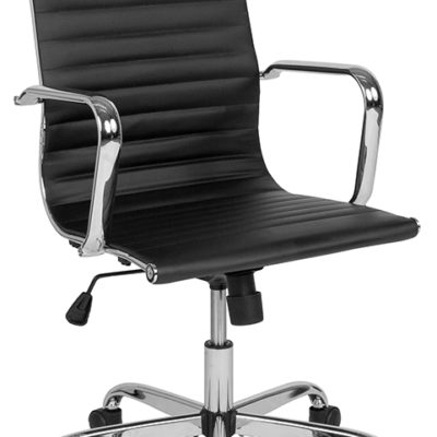 High Back Black Ribbed Swivel Office Chair