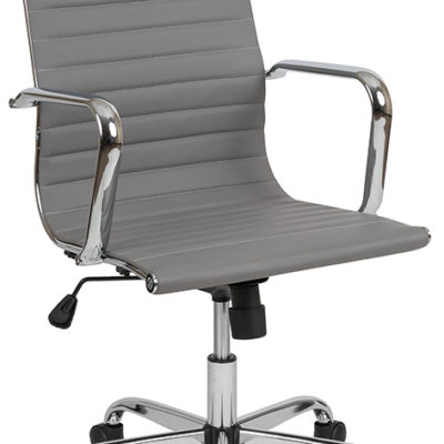 High Back Light Gray Modern Ribbed Swivel Office Chair