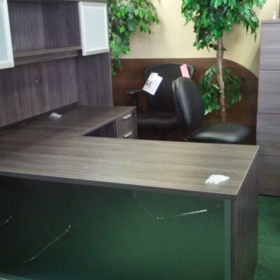NPL acrylic front L-shape desk gray