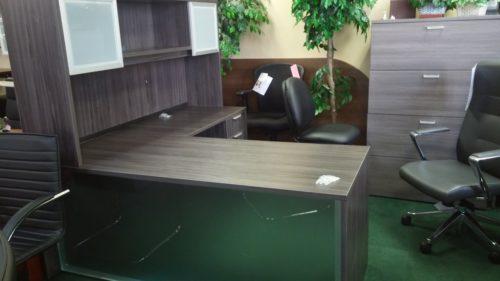L-shape desk acrylic front