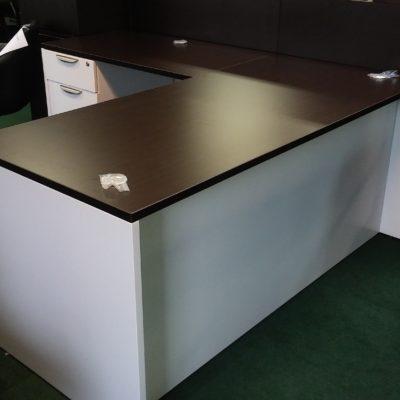 """Two tone Laminate 5'6"""" x 6' L-shape desk Espresso top with white laminate base"""