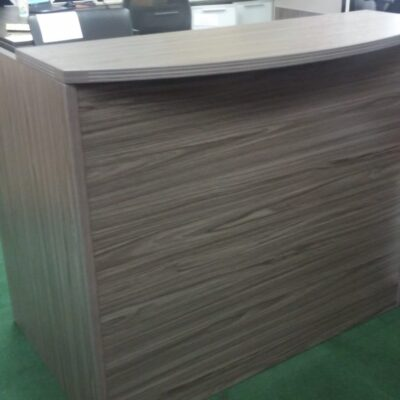 OS 4' bow front reception desk gray