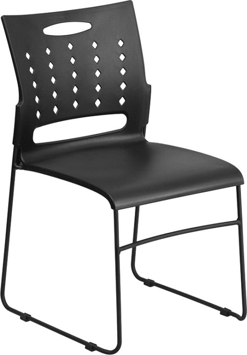 Black Sled Base Stack Chair with Air-Vent Back