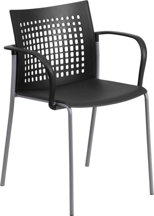 Black Stack Chair with Air-Vent Back and Arms