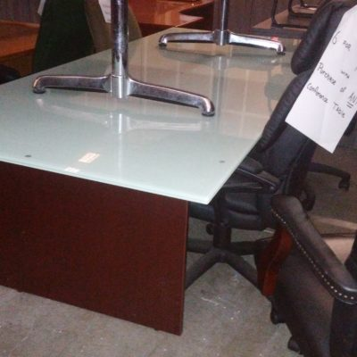 Used 8' rectangular glass top conference table with mahogany base
